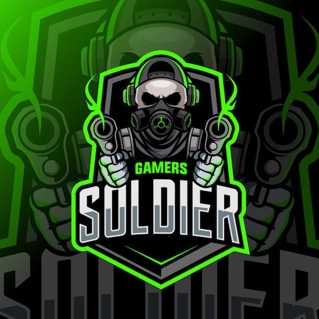 Soldier skull mascot esport logo Premium Vector