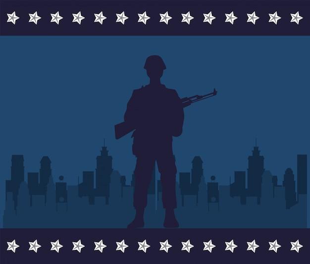 Soldier with rifle figure silhouette in cityscape vector illustration design Premium Vector