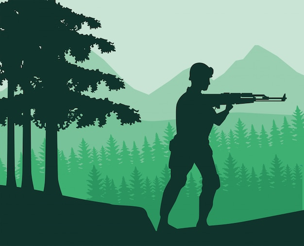 Soldier with rifle figure silhouette in the jungle Premium Vector
