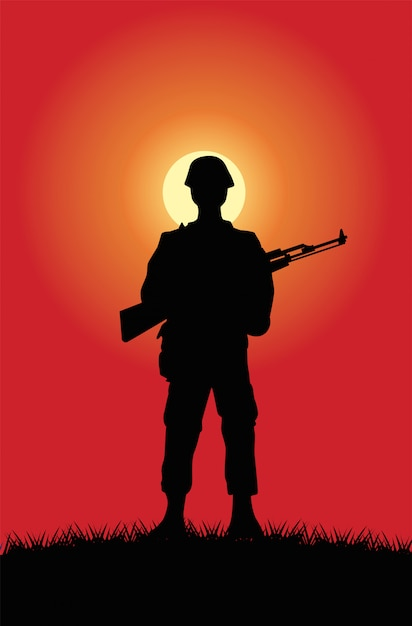 Soldier with rifle figure silhouette at sunset scene Premium Vector