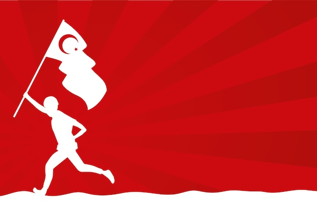 Солдат с изолированной страной флаг турции Premium векторы