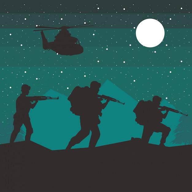 兵士とヘリコプターの夜のシーンでシルエットをフィギュアします。 Premiumベクター