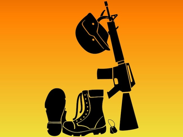 Soldiers automatic rifle battle gear\ vector