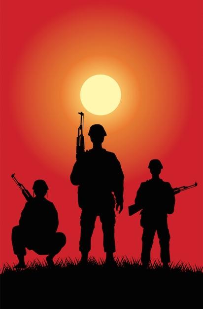 兵士は日没のシーンでシルエットを数字します。 Premiumベクター
