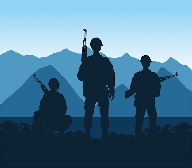 Soldiers figures silhouettes in the camp scene vector illustration design Premium Vector