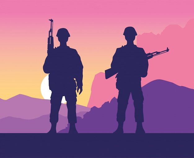 Soldiers figures silhouettes at sunset scene Premium Vector