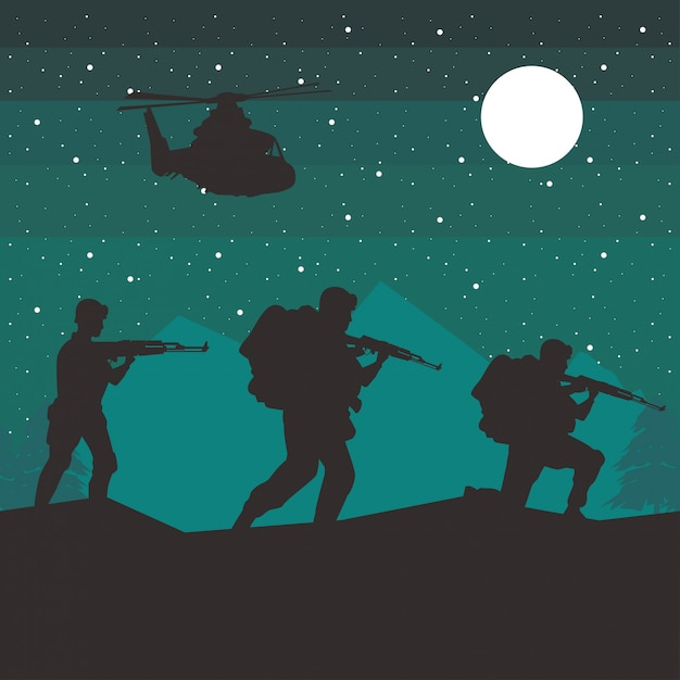 Soldiers and helicopter figures silhouettes at night scene Premium Vector