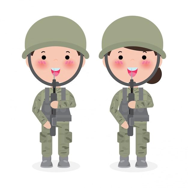 兵隊。男と女。白で隔離フラット漫画のキャラクター。米軍、兵士の隔離された図。 Premiumベクター