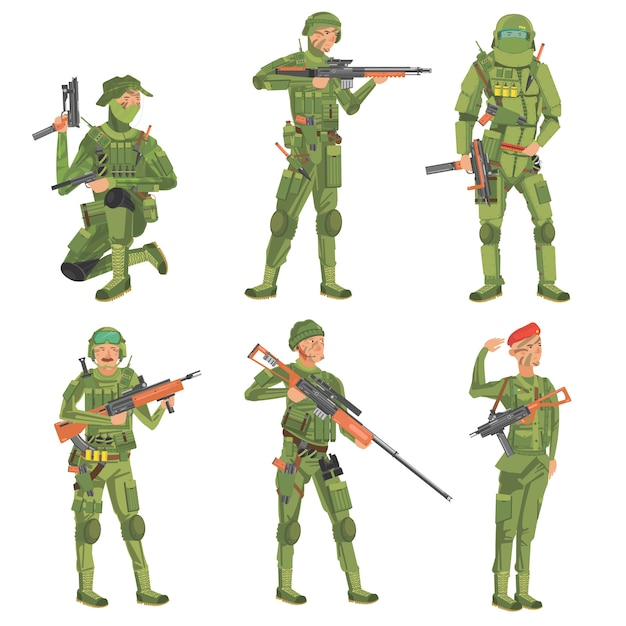 Soldiers  on a white background. Premium Vector