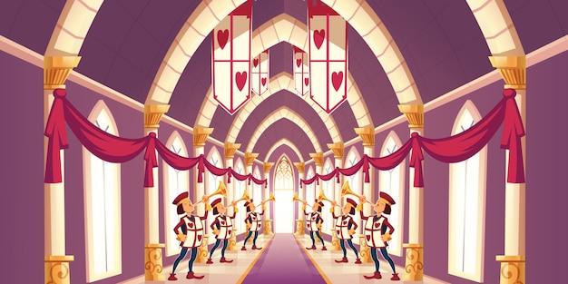 Trombettieri solenni che giocano l'illustrazione del fumetto di marzo Vettore gratuito