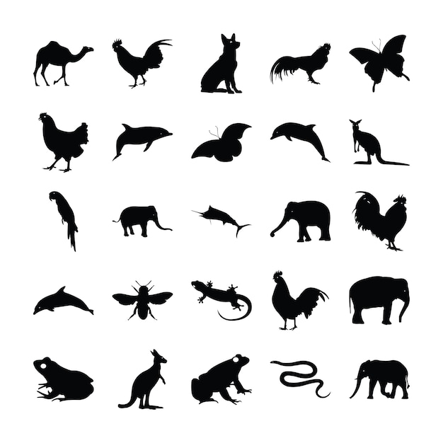 Solid pictograms of animals Premium Vector