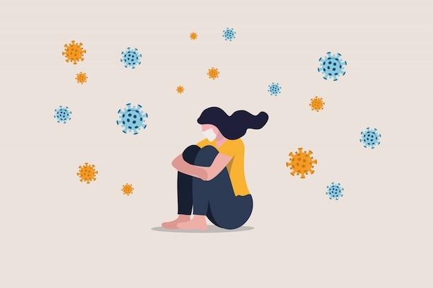 社会的距離からの孤独と抑うつ、covid-19コロナウイルスの危機における孤独な孤独、ウイルス感染による不安、悲しい不幸なうつ病の女の子がウイルス病原体と一人で座っている Premiumベクター
