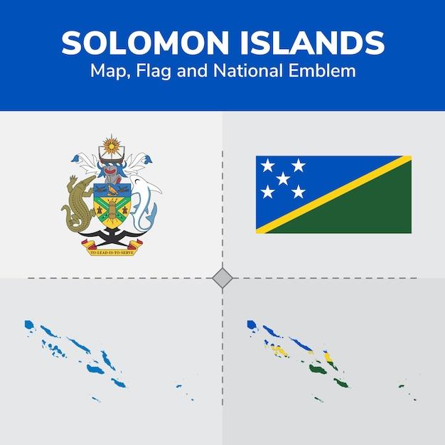 Solomon islands map, flag and national emblem Vector