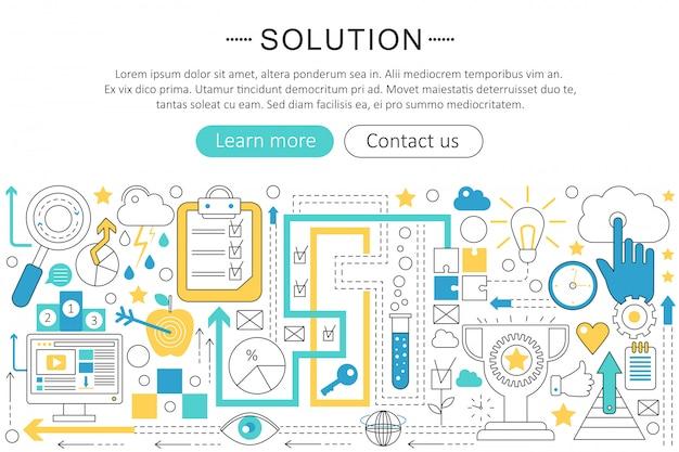 Solution flat line concept Premium Vector