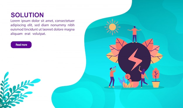 Solution illustration concept with character. landing page template Premium Vector