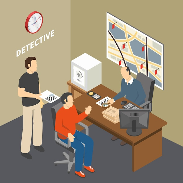 法執行機関の探偵事務所等尺性で目撃者に話している情報を収集する犯罪捜査官を解決する 無料ベクター