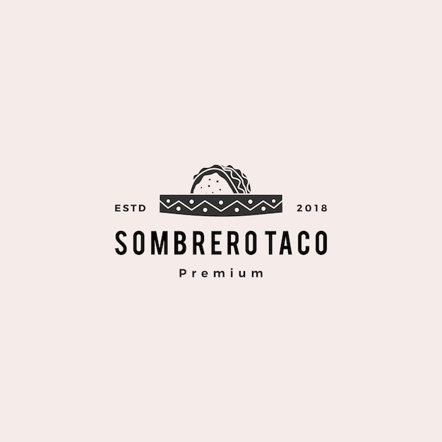 Sombrero hat taco logo vector icon illustration Premium Vector