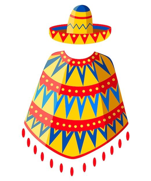 Мексиканская шляпа сомбреро и силуэт человека пончо. украшенный старинный символ партии. иллюстрация на белом фоне. страница веб-сайта и мобильное приложение. Premium векторы