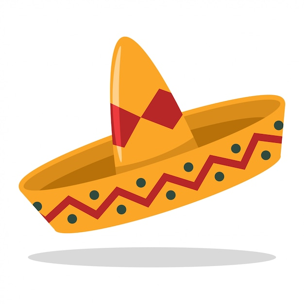 Sombrero Mexican Hat Cartoon Flat Icon Isolated On A White Background Premium Vector