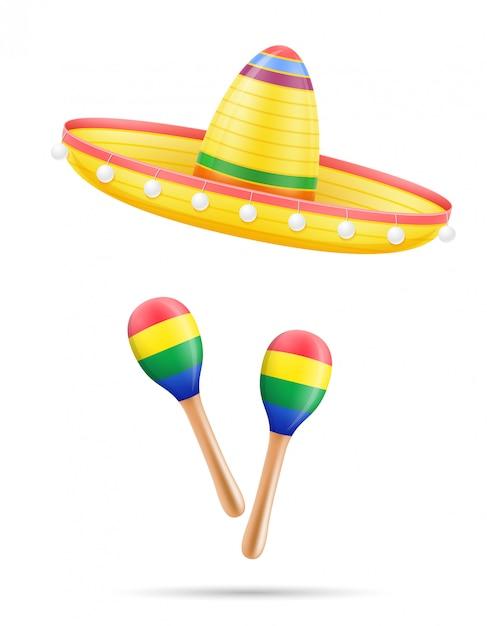 Sombrero national mexican headdress and maracas vector illustration Premium Vector