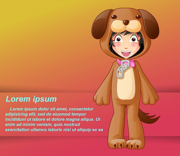 Someone is in dog mascot dress. Premium Vector