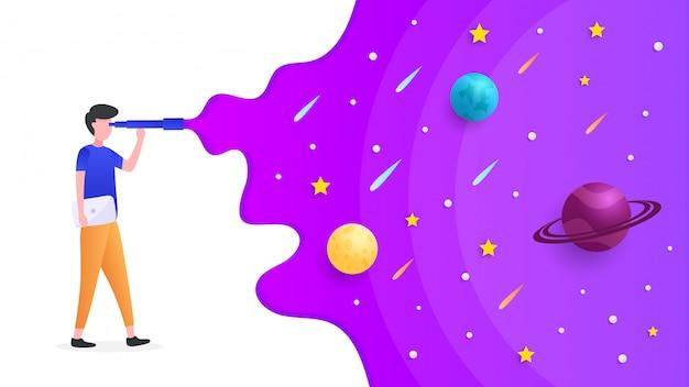 Кто-то смотрит в космос через телескоп Premium векторы