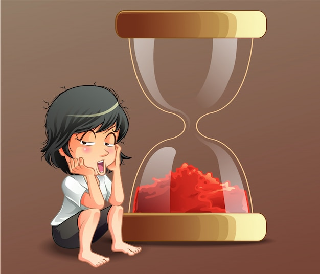 Someone is sitting with sand timer. Premium Vector