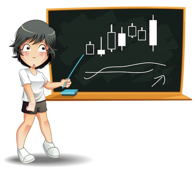 Someone is teaching finance with blackboard on white background. Premium Vector