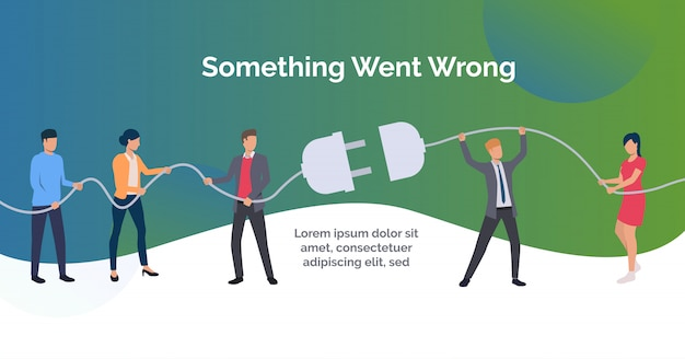 Something went wrong green slide template presentation Free Vector