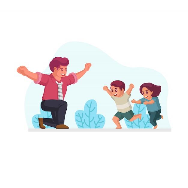 Сын и дочь бегут приветствовать и готовы обнять ее отца после возвращения домой из офиса векторная иллюстрация Premium векторы