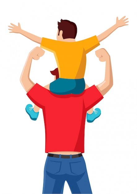Premium Vector | Son on his father shoulders