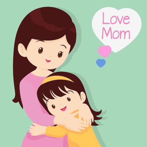 Son hugging his mother Premium Vector