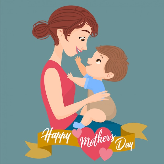 Son sits on his mother's lap Premium Vector