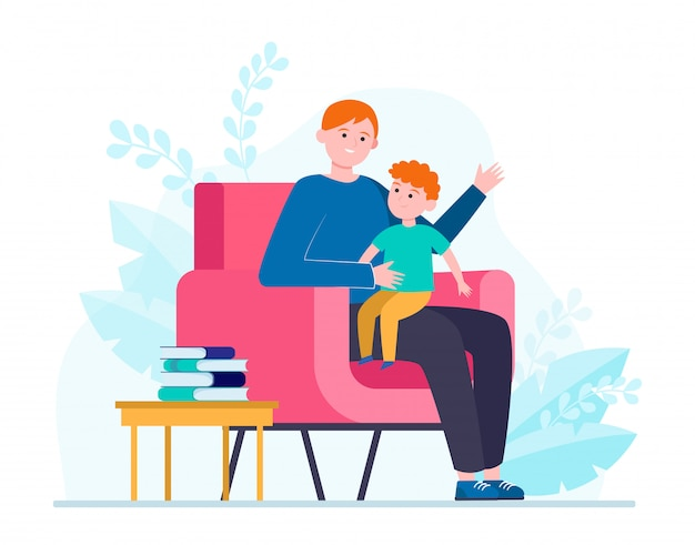 Son sitting on father knees and listening story Free Vector