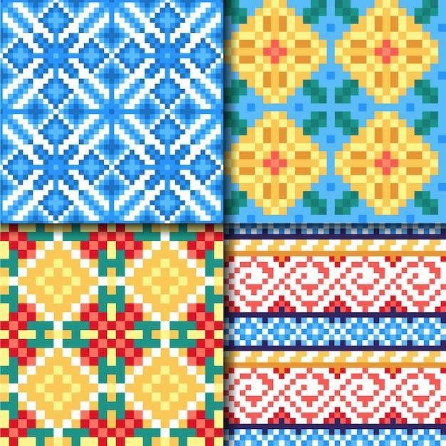 Songket pattern collection Premium Vector