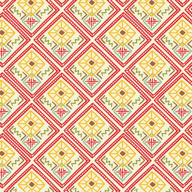 Songket pattern with decorative shapes Free Vector