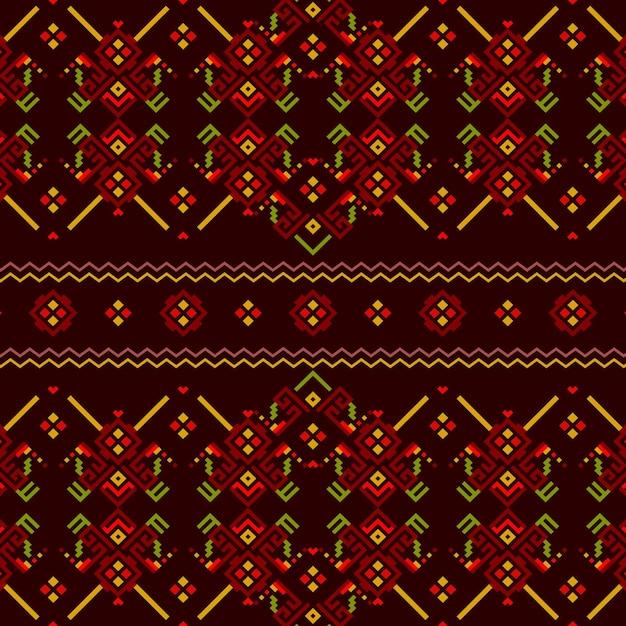 赤と緑のソンケットのシームレスなパターン 無料ベクター