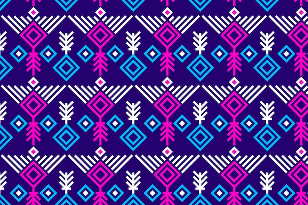 Songket seamless pattern vivid violet and pink Free Vector