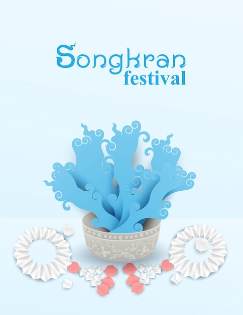 Songkran thailand festival poster Premium Vector