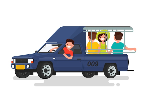 Songteo or tuk tuk taxi with passengers illustration Premium Vector