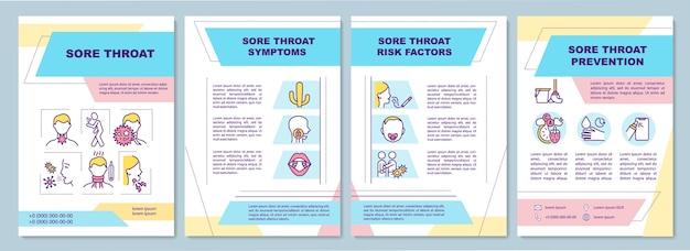 Шаблон брошюры о боли в горле. различные симптомы болезни. Premium векторы