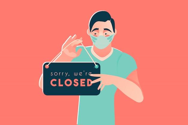 Sorry we're closed coronavirus disease 2019 covid-19 quarantine Premium Vector