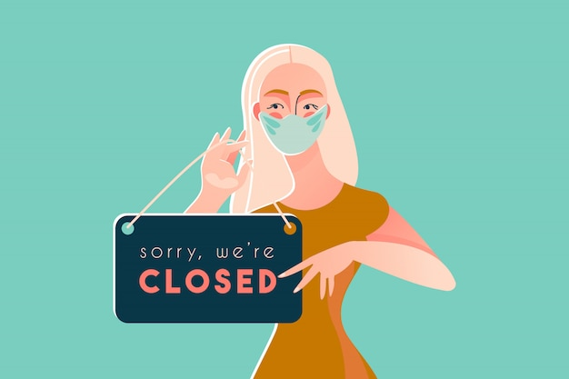 Sorry we're closed coronavirus disease 2019 covid-19 quarantine Premium Vector