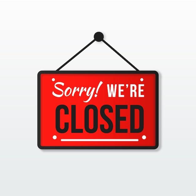 Siamo spiacenti, siamo chiusi cartello Vettore gratuito