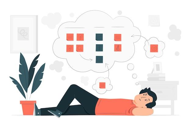 Иллюстрация концепции сортировки мыслей Бесплатные векторы