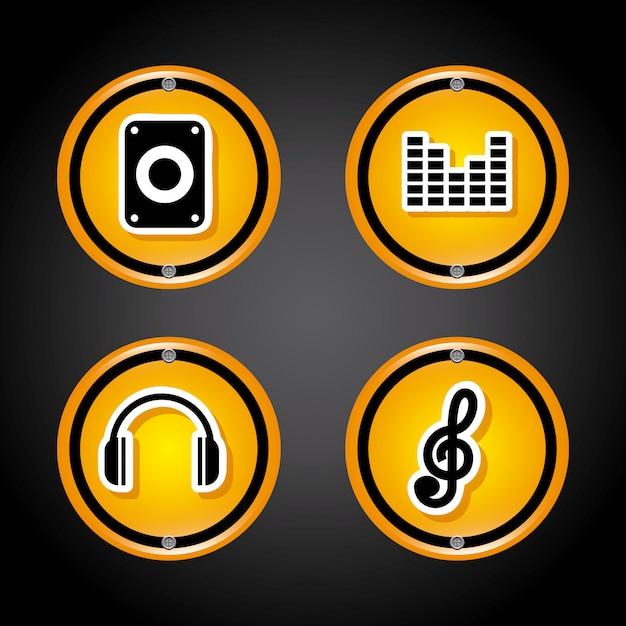 Звуковые иконки на черном Бесплатные векторы