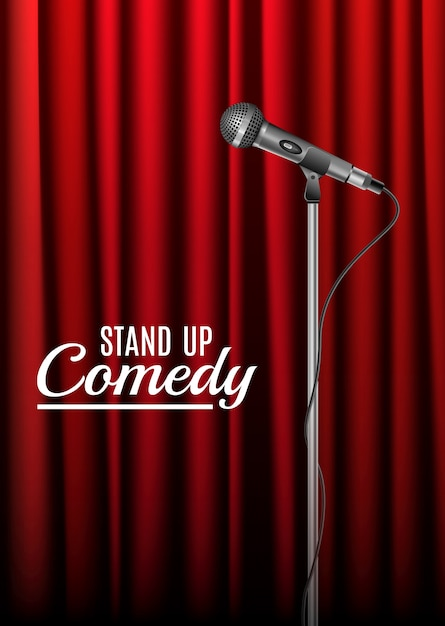 Sound mic equipment on stage curtains. stand microphone music voice record equipment Premium Vector