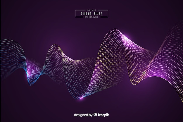 Sound particles wave background Free Vector