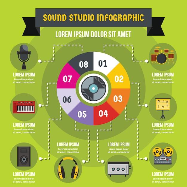 Sound studio infographic concept, flat style Premium Vector