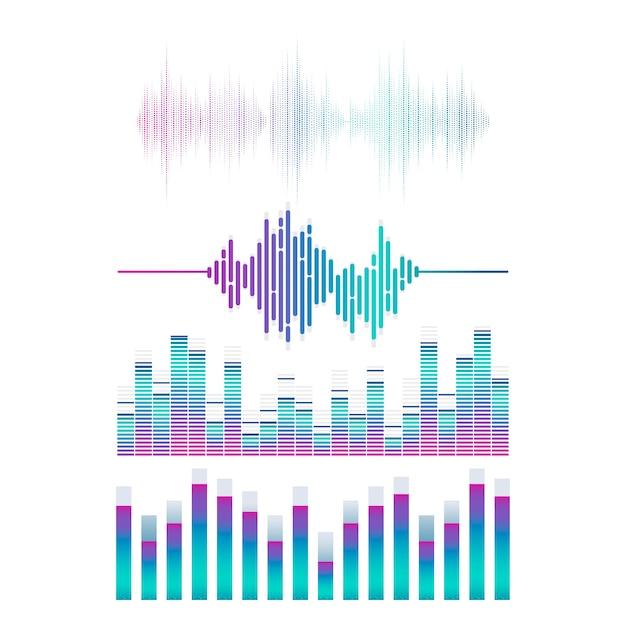 Sound wave equalizer set Free Vector
